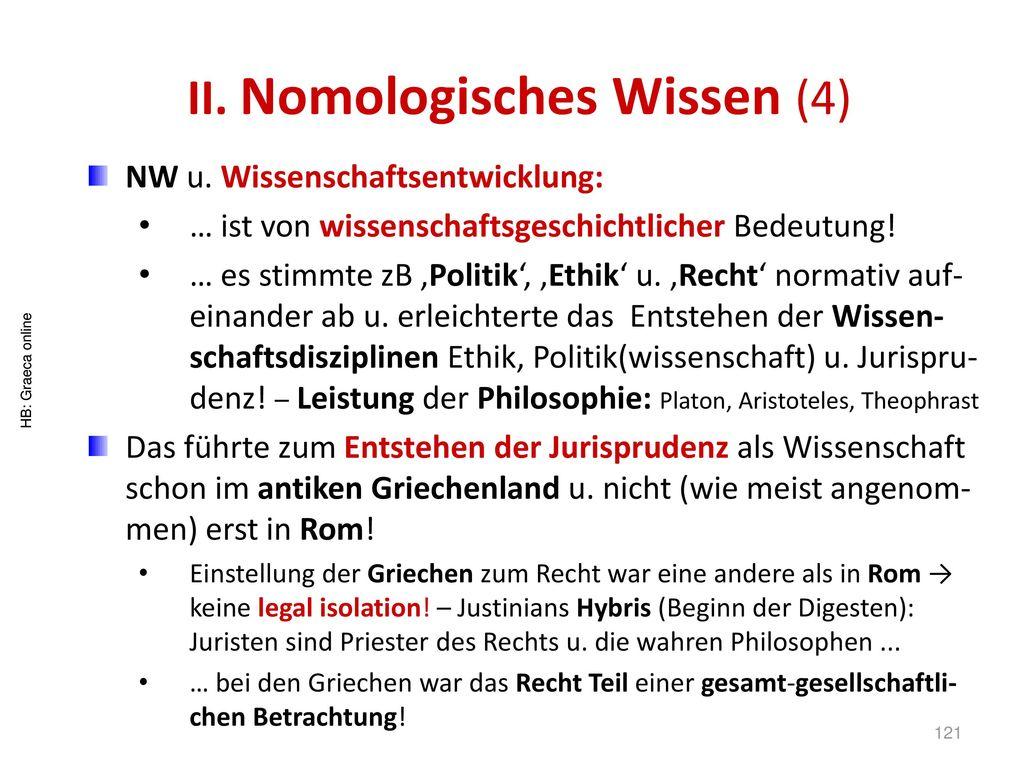 II. Nomologisches Wissen (4)