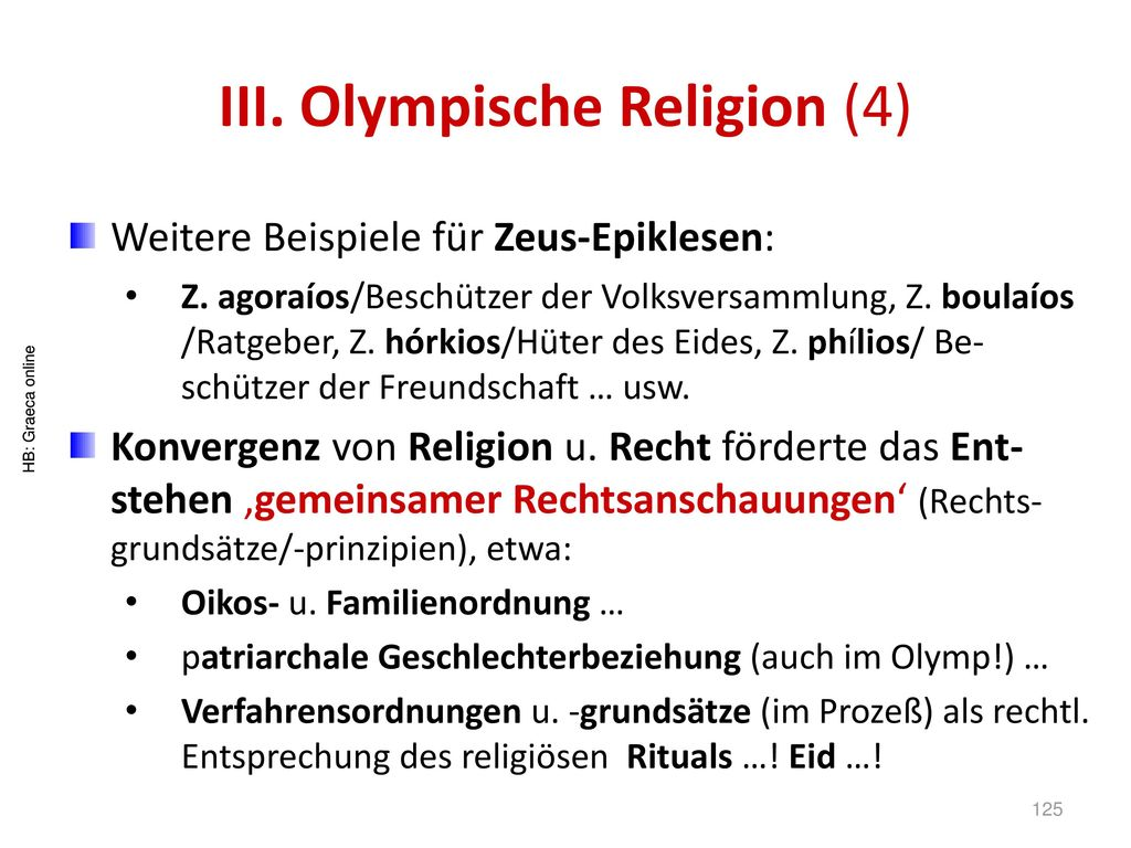 III. Olympische Religion (4)