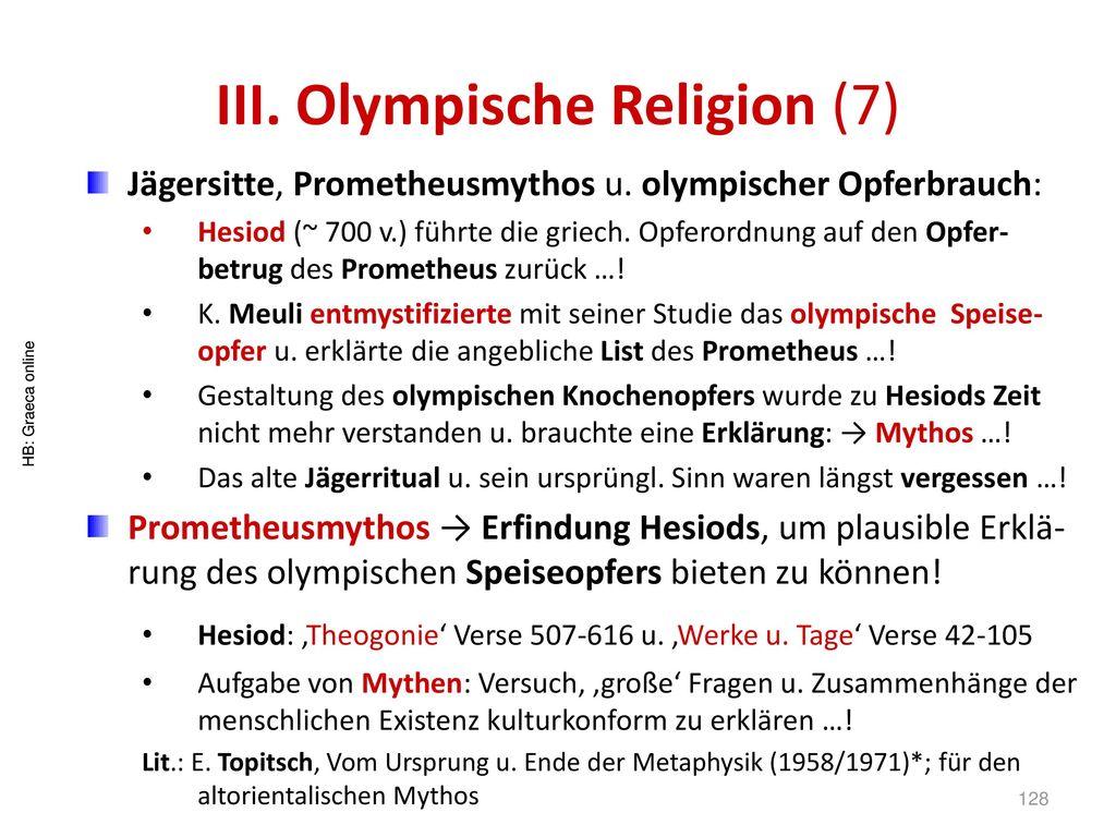 III. Olympische Religion (7)