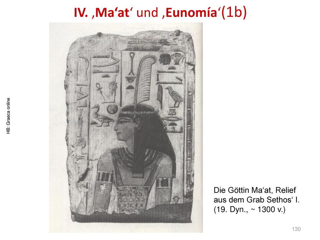 IV. 'Ma'at' und 'Eunomía'(1b)