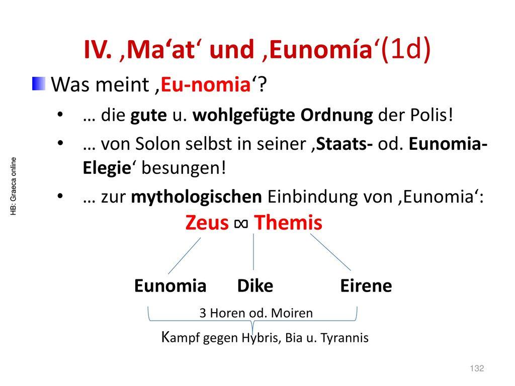 IV. 'Ma'at' und 'Eunomía'(1d)