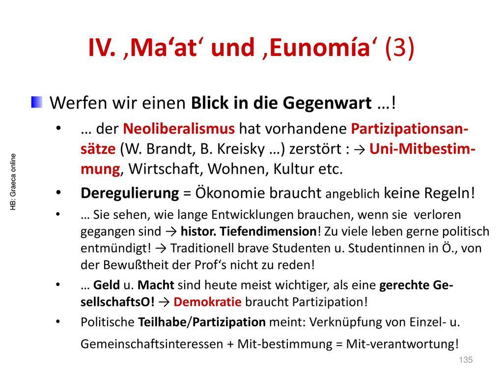 IV. 'Ma'at' und 'Eunomía' (3)