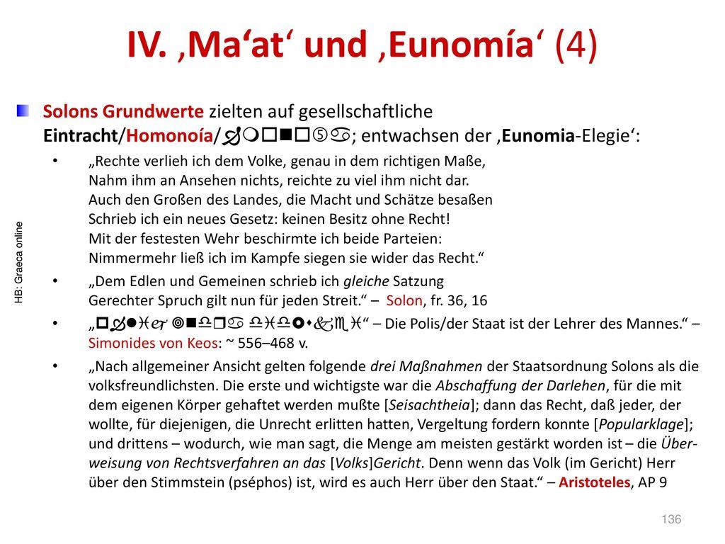 IV. 'Ma'at' und 'Eunomía' (4)