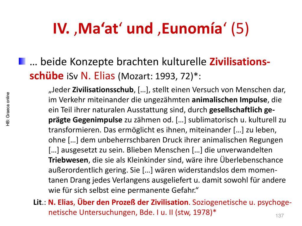 IV. 'Ma'at' und 'Eunomía' (5)