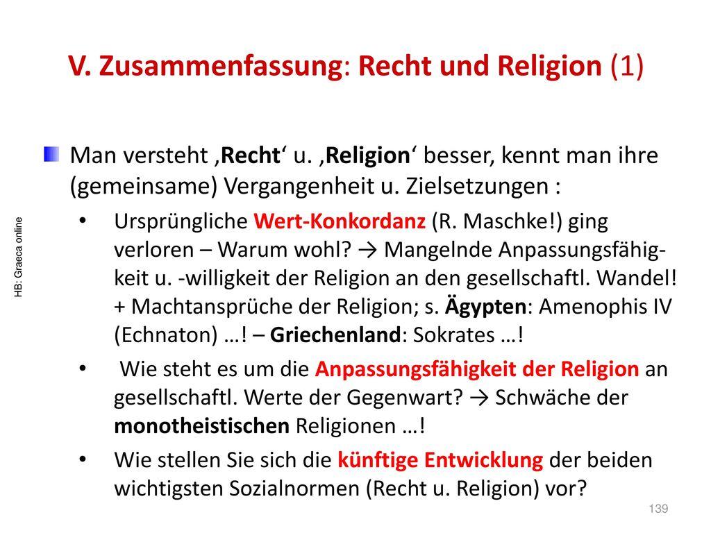 V. Zusammenfassung: Recht und Religion (1)
