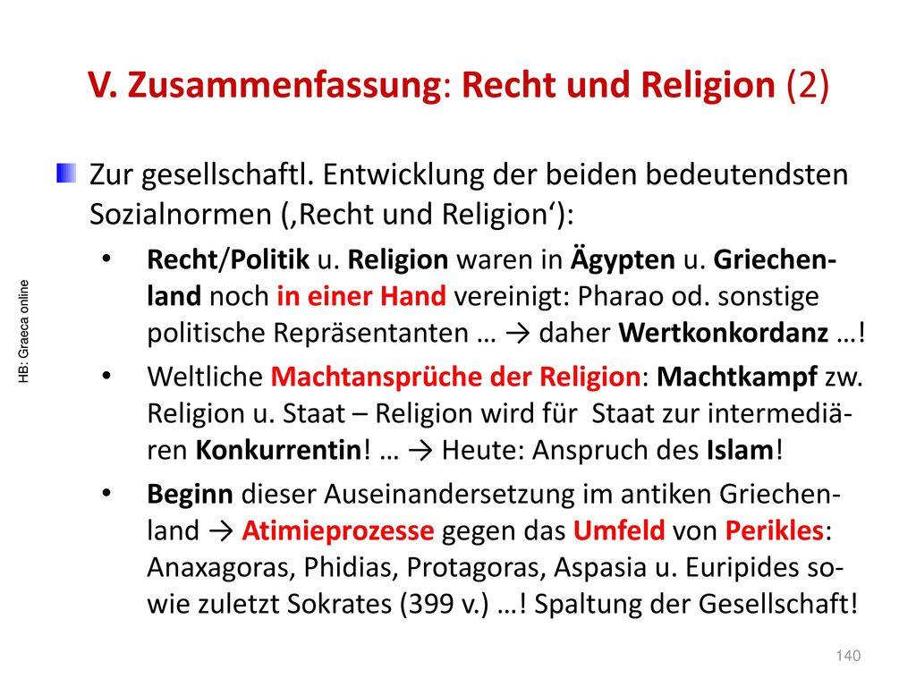 V. Zusammenfassung: Recht und Religion (2)