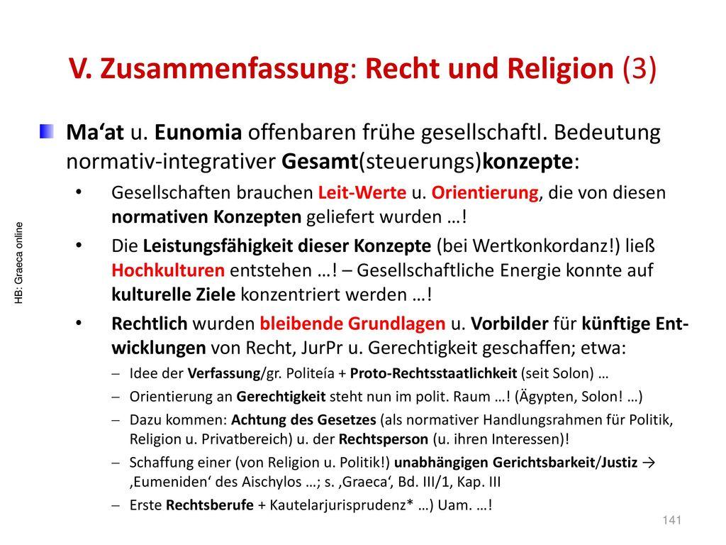 V. Zusammenfassung: Recht und Religion (3)