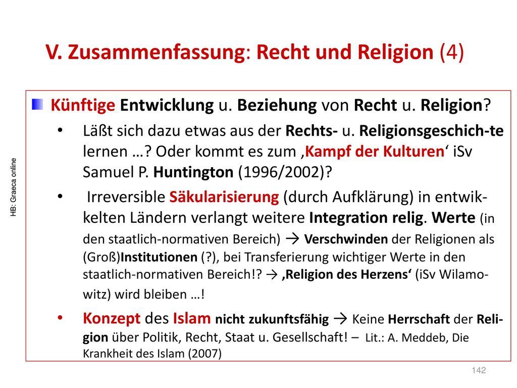 V. Zusammenfassung: Recht und Religion (4)