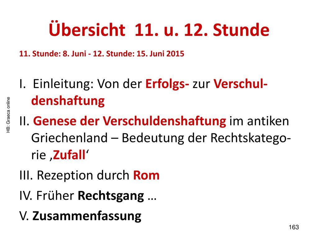 Übersicht 11. u. 12. Stunde 11. Stunde: 8. Juni - 12. Stunde: 15. Juni 2015. I. Einleitung: Von der Erfolgs- zur Verschul-denshaftung.