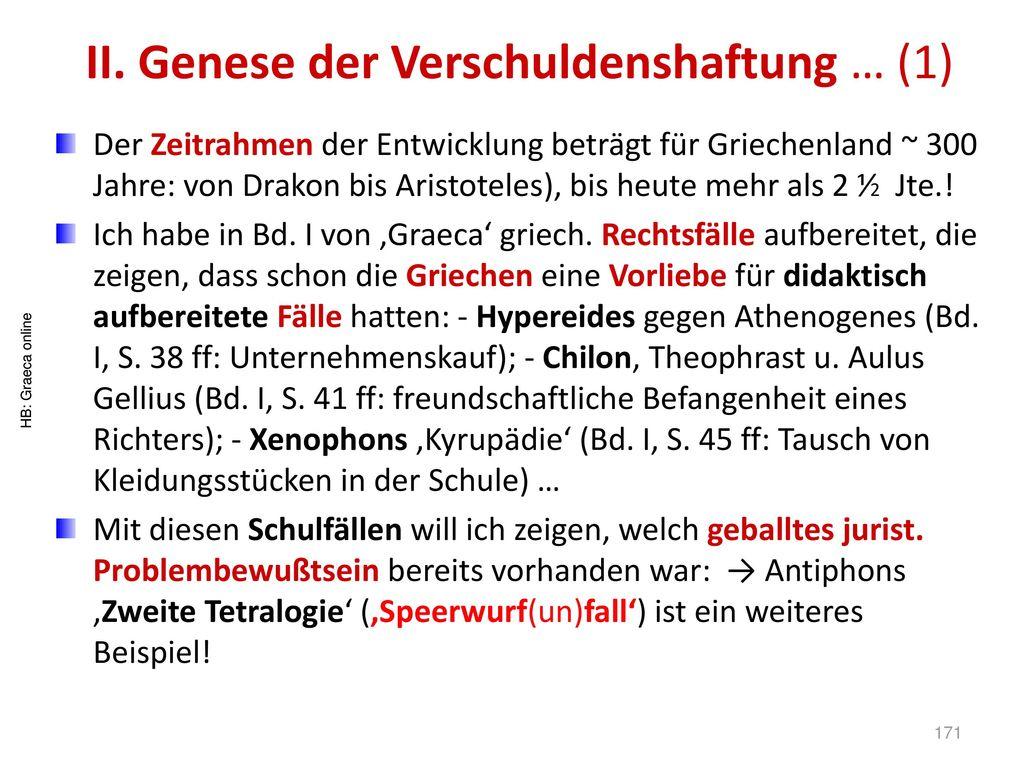 II. Genese der Verschuldenshaftung … (1)