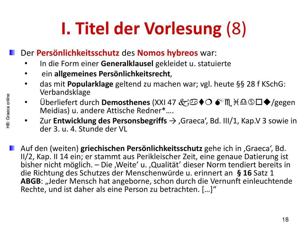 I. Titel der Vorlesung (8)