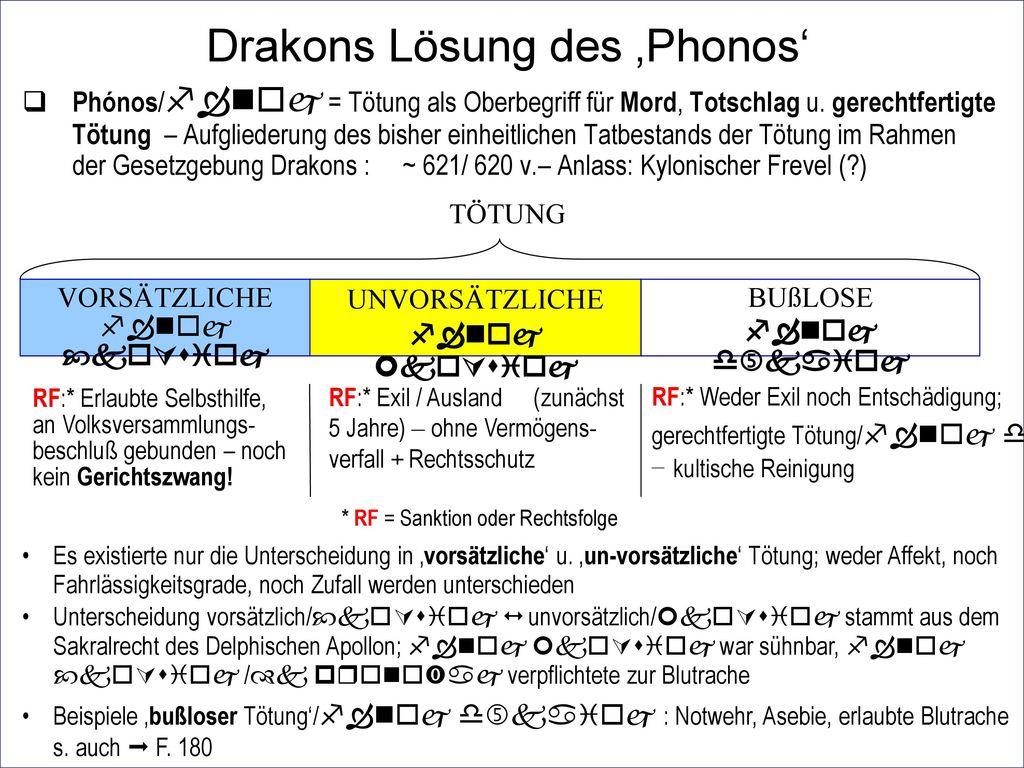 Drakons Lösung des 'Phonos'