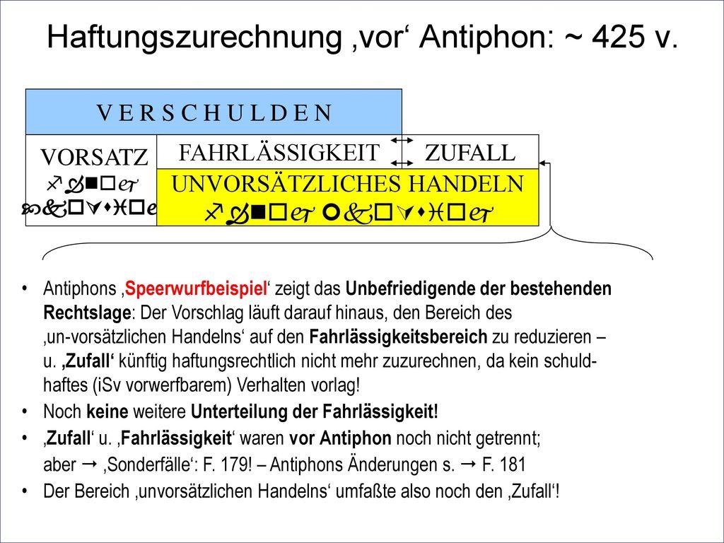 Haftungszurechnung 'vor' Antiphon: ~ 425 v.