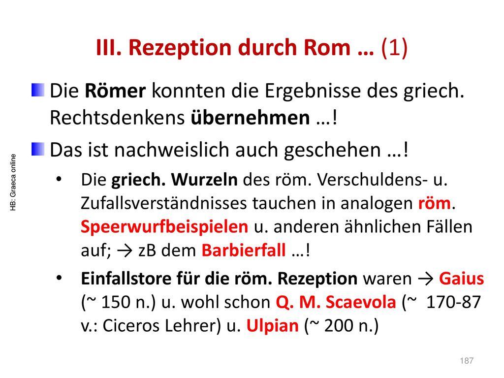 III. Rezeption durch Rom … (1)
