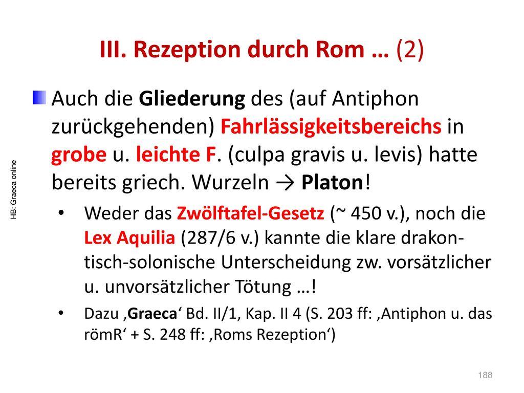 III. Rezeption durch Rom … (2)