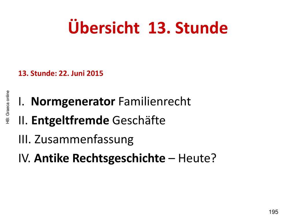 Übersicht 13. Stunde I. Normgenerator Familienrecht