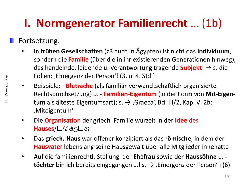 I. Normgenerator Familienrecht … (1b)