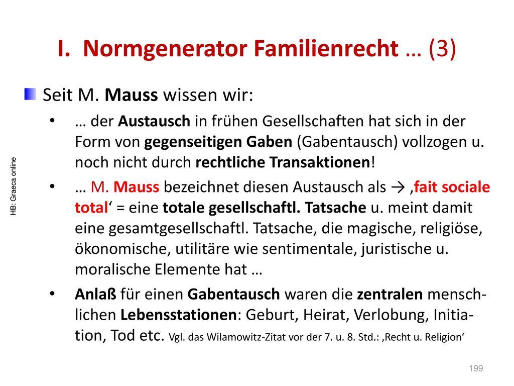 I. Normgenerator Familienrecht … (3)