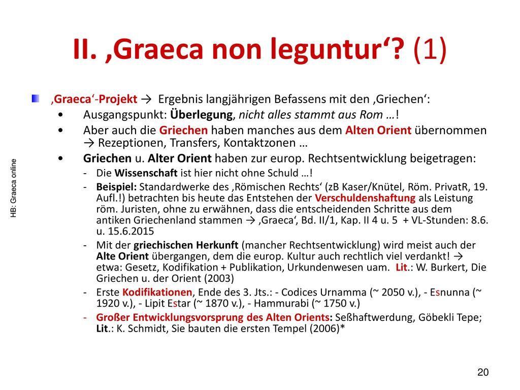II. 'Graeca non leguntur' (1)