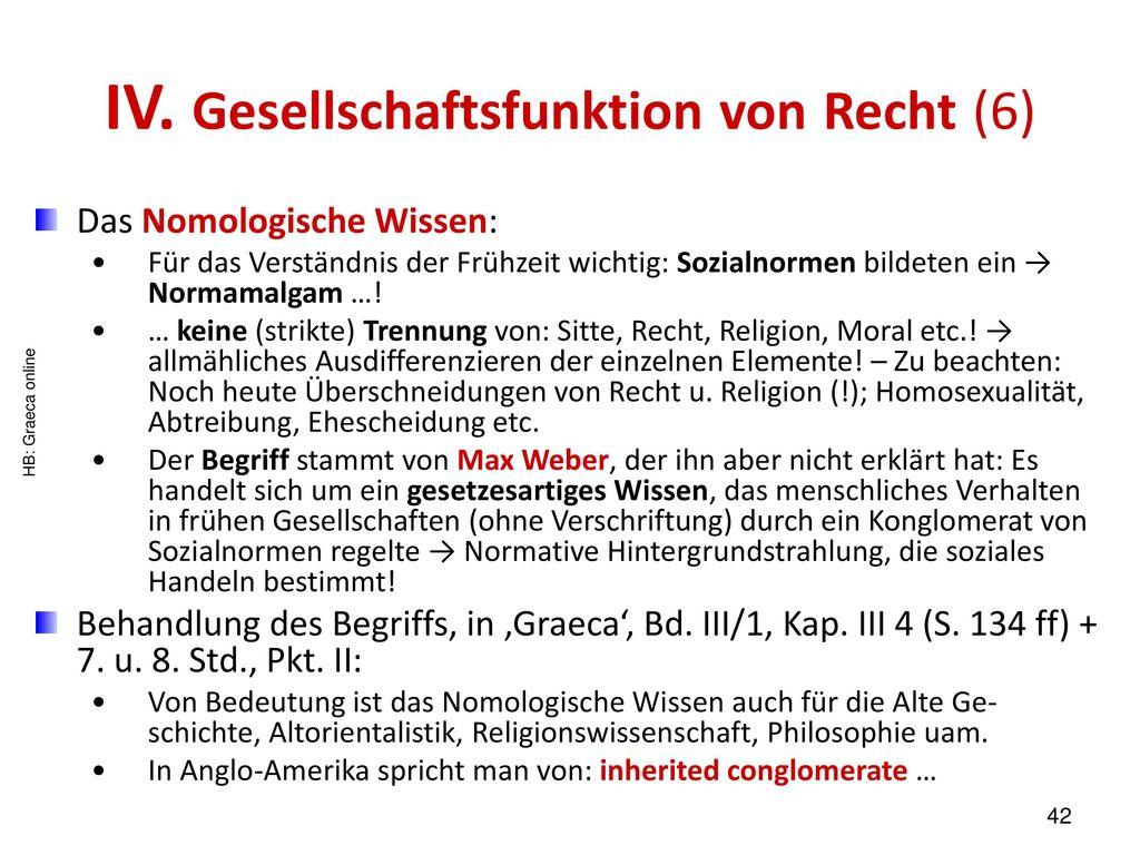 IV. Gesellschaftsfunktion von Recht (6)