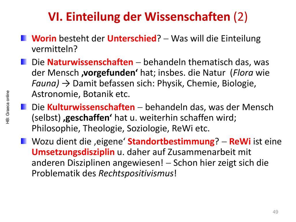 VI. Einteilung der Wissenschaften (2)