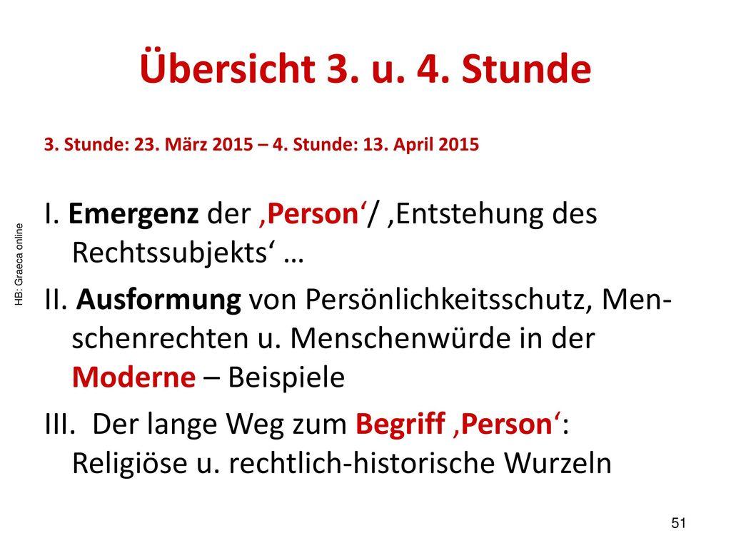 Übersicht 3. u. 4. Stunde 3. Stunde: 23. März 2015 – 4. Stunde: 13. April 2015. I. Emergenz der 'Person'/ 'Entstehung des Rechtssubjekts' …