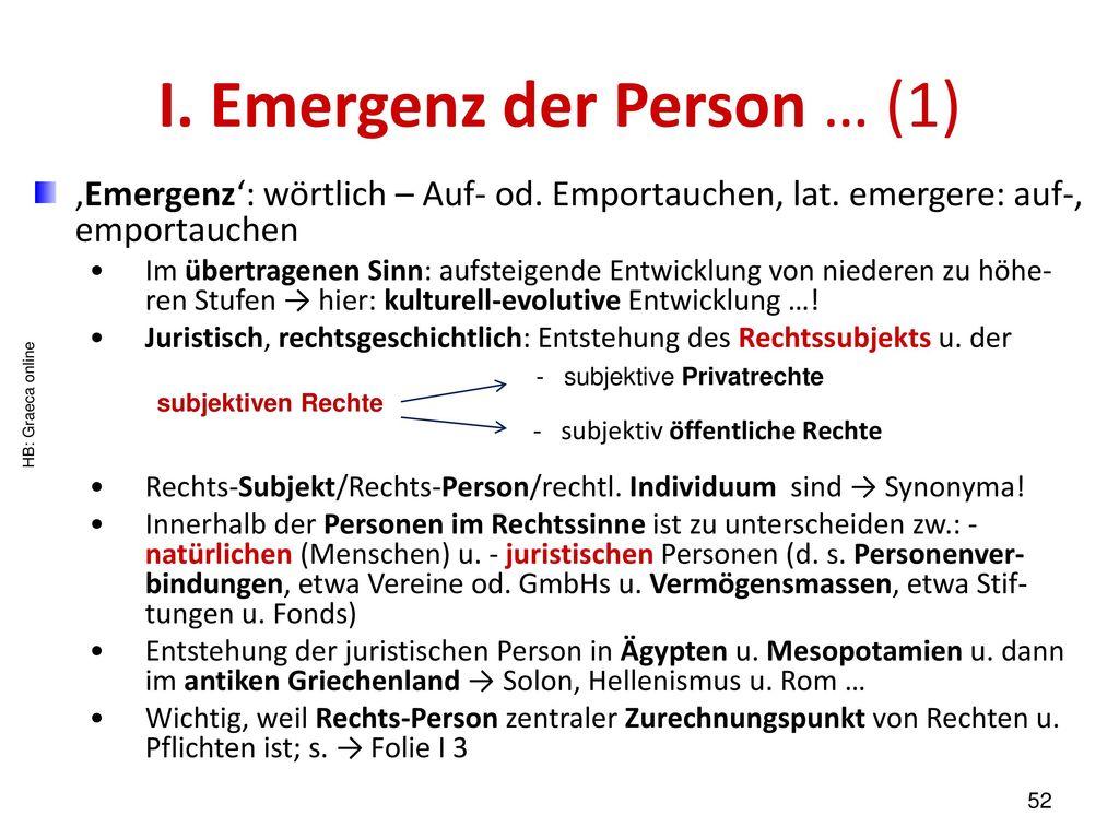 I. Emergenz der Person … (1)