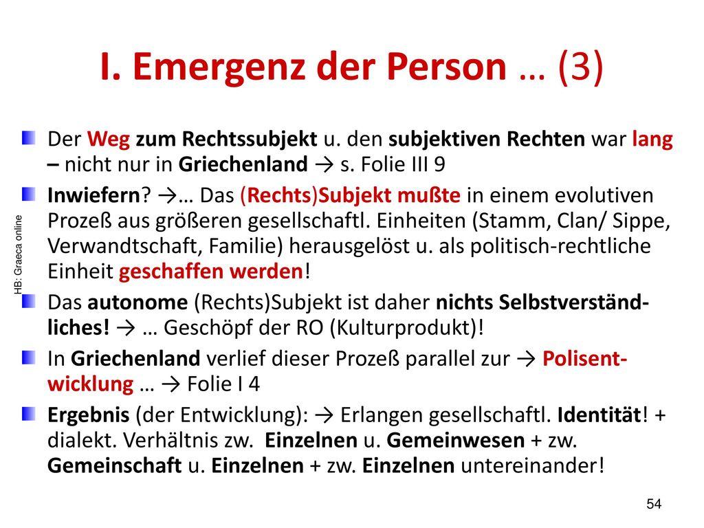I. Emergenz der Person … (3)