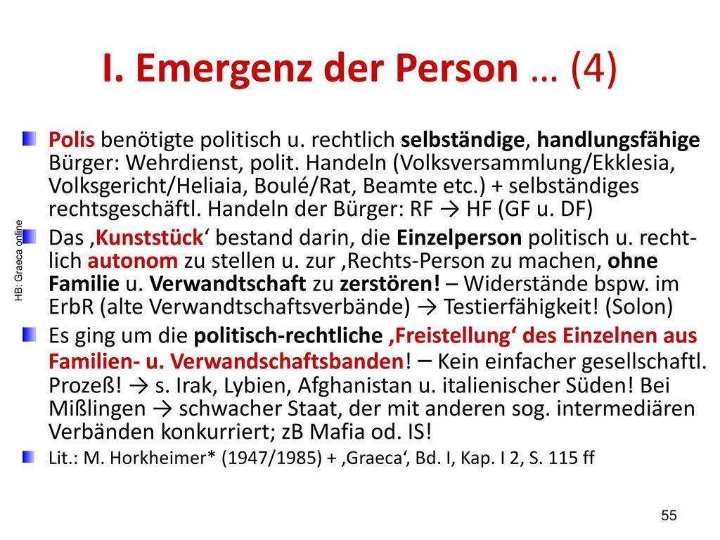 I. Emergenz der Person … (4)