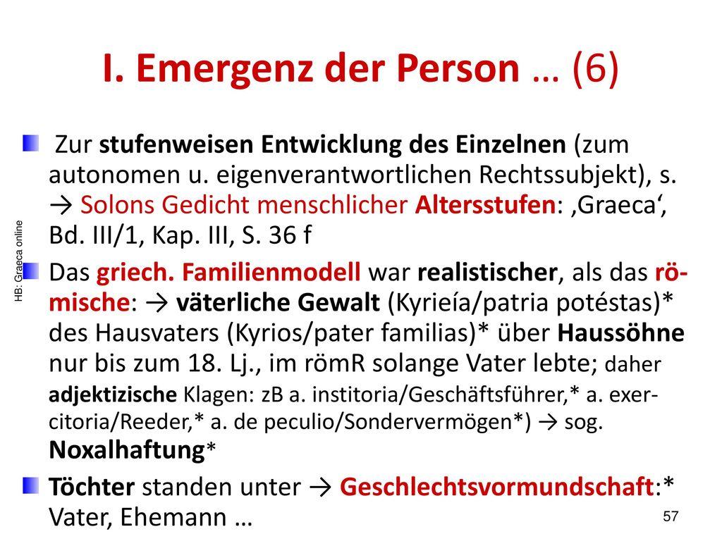 I. Emergenz der Person … (6)