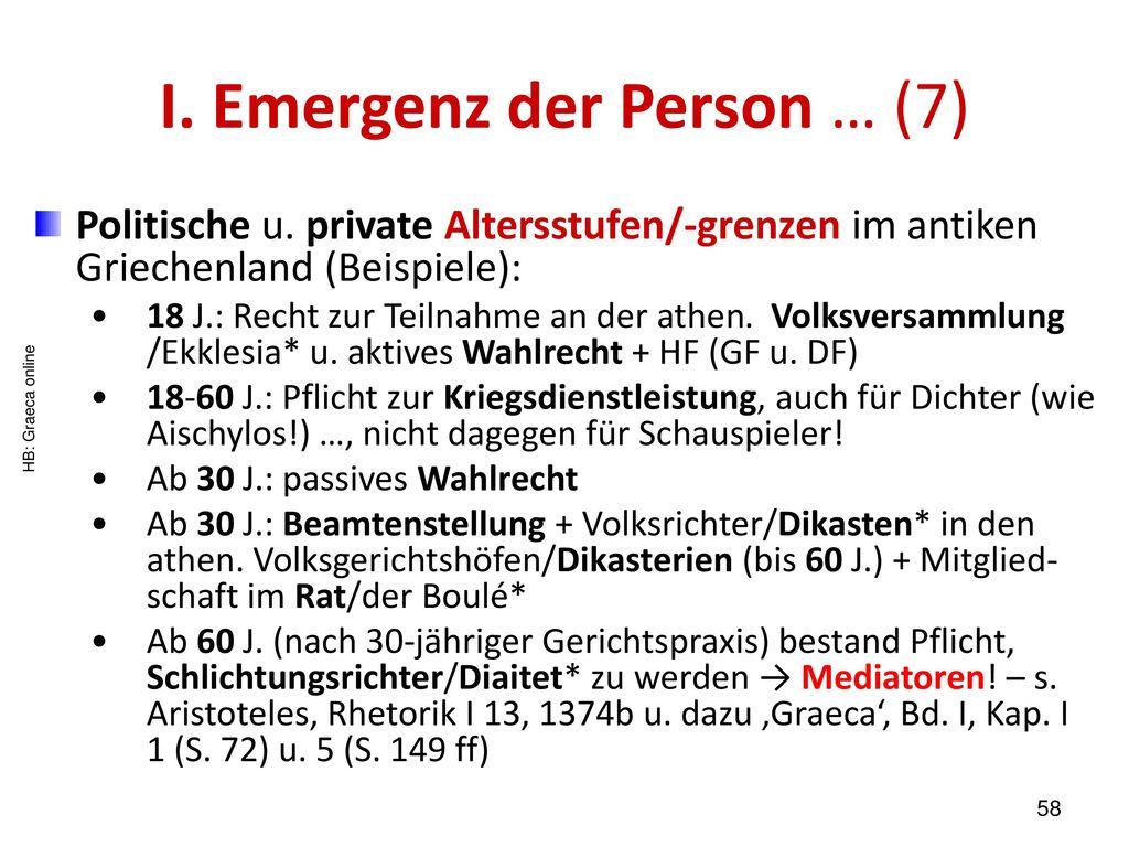 I. Emergenz der Person … (7)