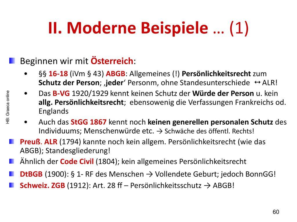 II. Moderne Beispiele … (1)