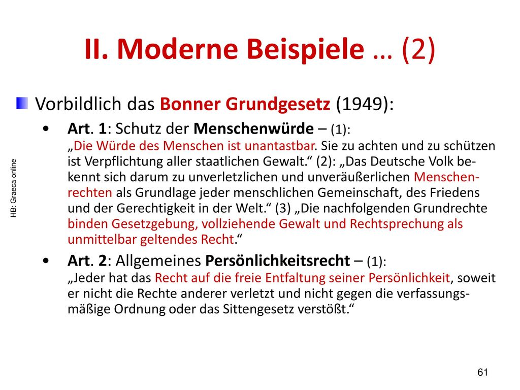 II. Moderne Beispiele … (2)