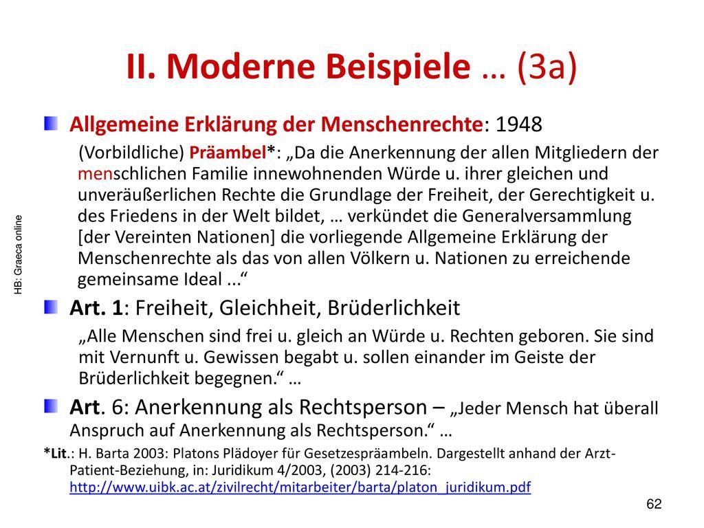 II. Moderne Beispiele … (3a)