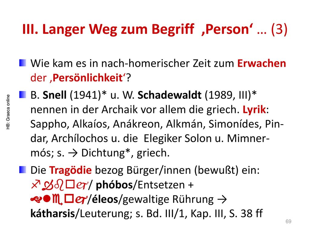 III. Langer Weg zum Begriff 'Person' … (3)