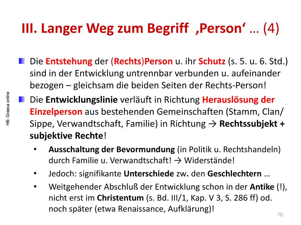 III. Langer Weg zum Begriff 'Person' … (4)