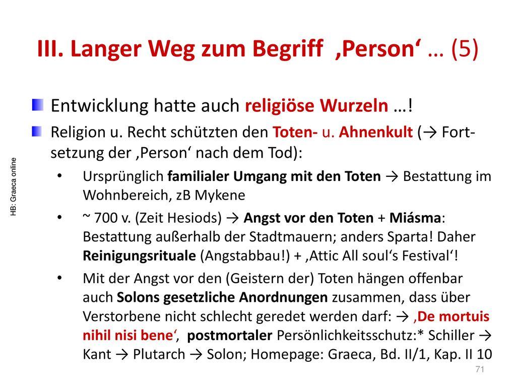 III. Langer Weg zum Begriff 'Person' … (5)