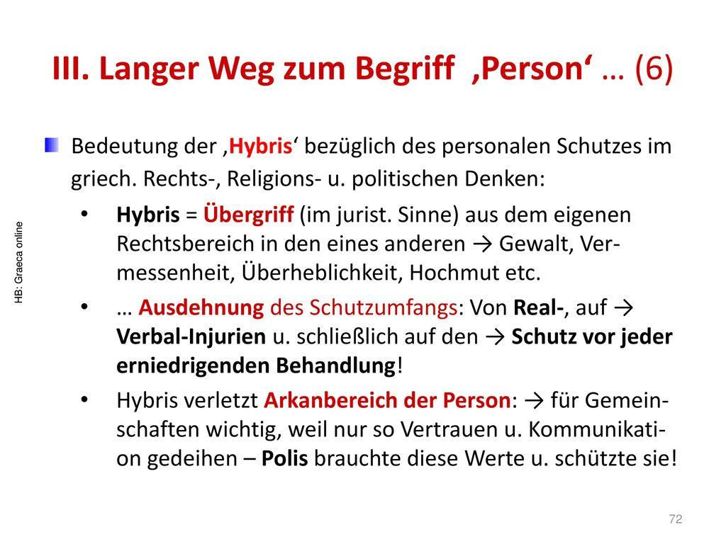 III. Langer Weg zum Begriff 'Person' … (6)