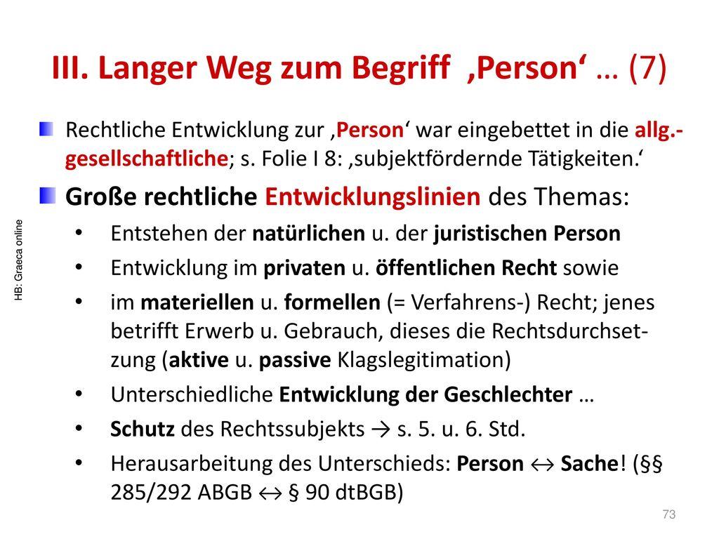 III. Langer Weg zum Begriff 'Person' … (7)