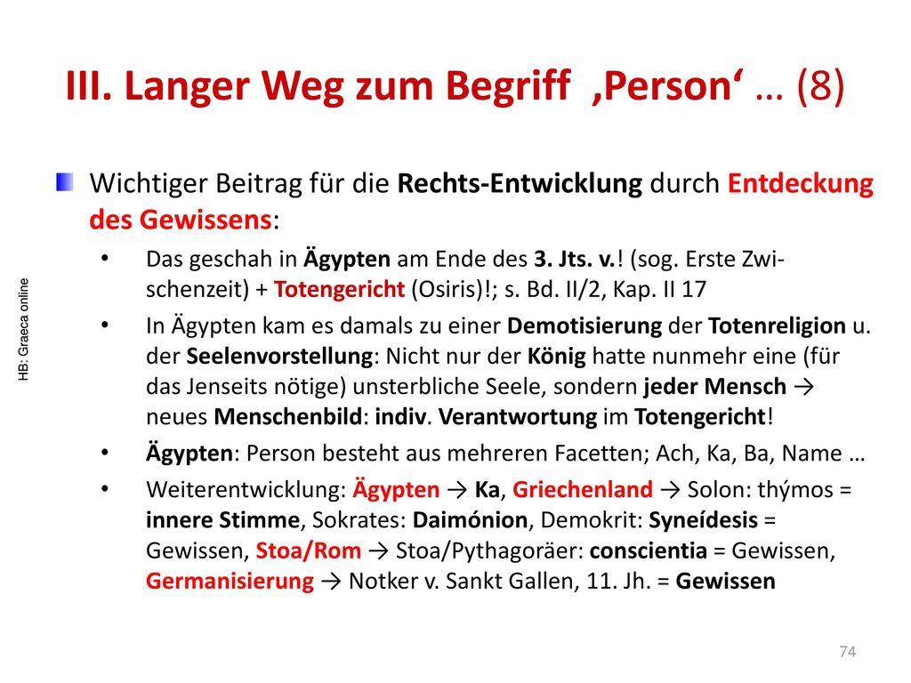III. Langer Weg zum Begriff 'Person' … (8)