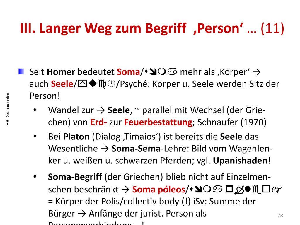 III. Langer Weg zum Begriff 'Person' … (11)