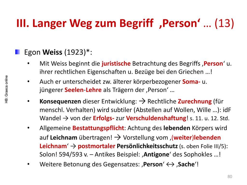 III. Langer Weg zum Begriff 'Person' … (13)