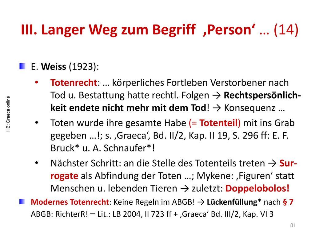 III. Langer Weg zum Begriff 'Person' … (14)