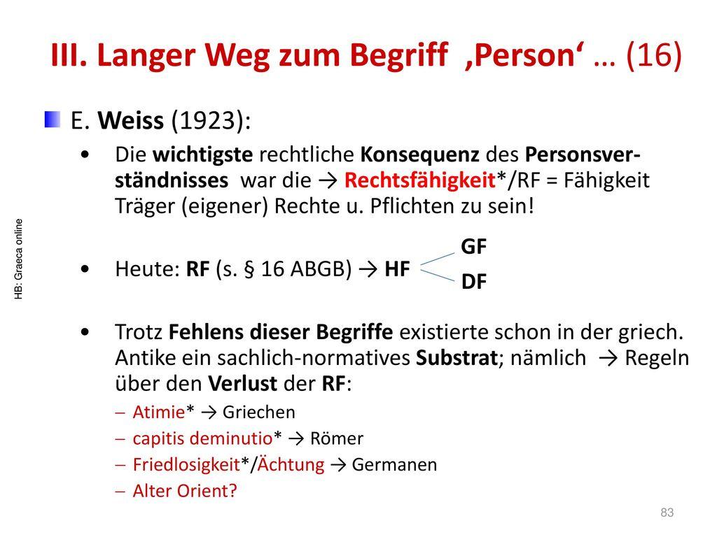 III. Langer Weg zum Begriff 'Person' … (16)