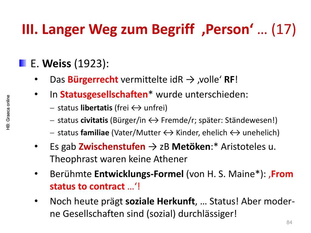 III. Langer Weg zum Begriff 'Person' … (17)