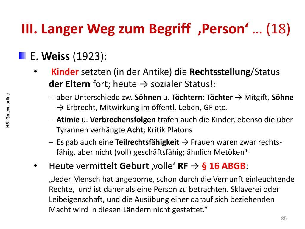 III. Langer Weg zum Begriff 'Person' … (18)
