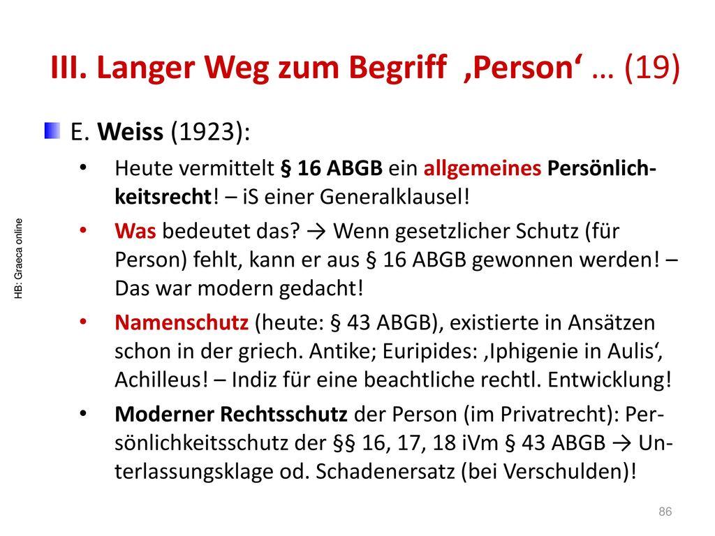 III. Langer Weg zum Begriff 'Person' … (19)