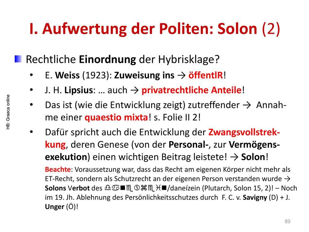 I. Aufwertung der Politen: Solon (2)