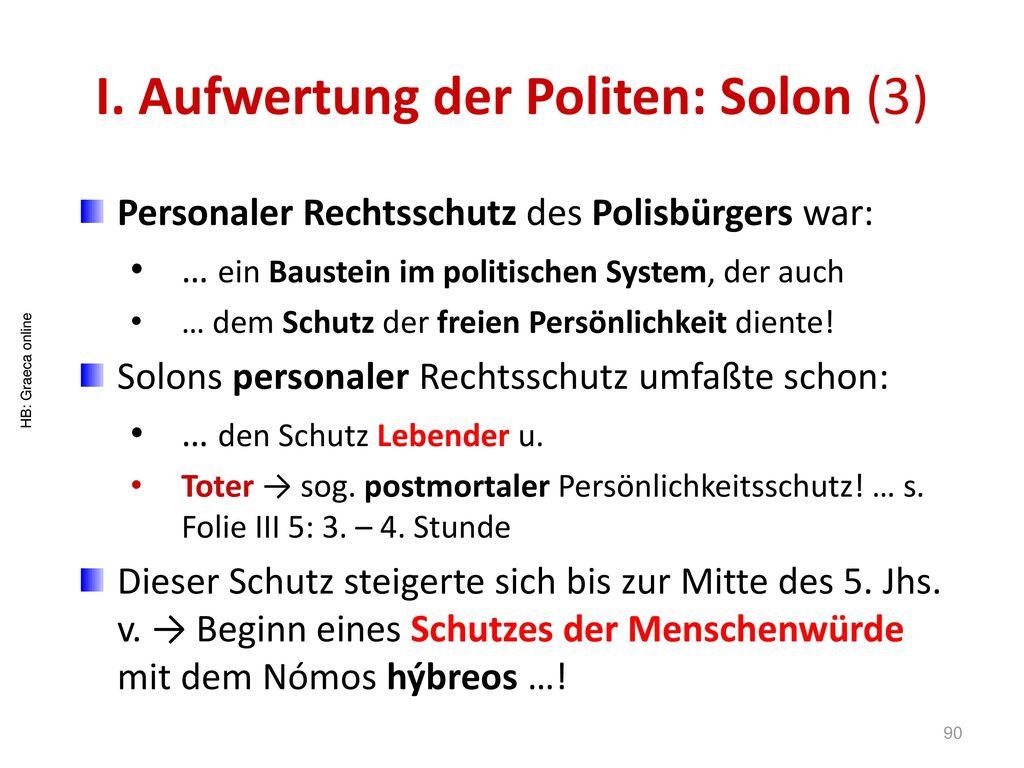 I. Aufwertung der Politen: Solon (3)