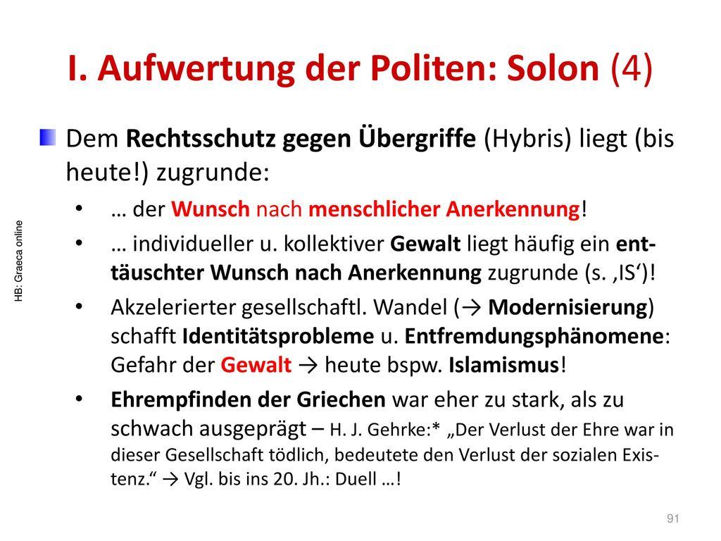 I. Aufwertung der Politen: Solon (4)